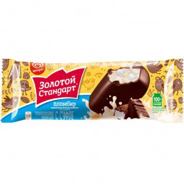 Мороженое Золотой Стандарт Пломбир суфле эскимо 62г/28/Инмарко/БЗМЖ