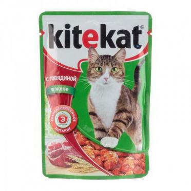 Корм для кошек Китекет говяд в желе 85г пауч/28