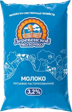 Молоко Деревенское молочко 3,2% 900г п/п/БЗМЖ