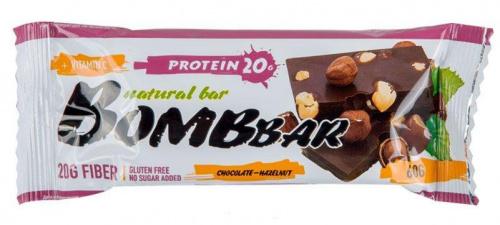 Батончик BOMBBAR Шоколад с фундуком протеиновый 60г/20