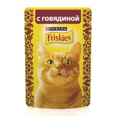 Корм для кошек ФРИСКИС влажн. говядина 85г пауч/24