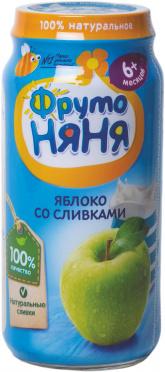 Пюре Фрутоняня 250г яблоко со сливками и сахаром ст/б/12/БЗМЖ