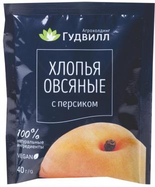 Каша б/п ГУДВИЛЛ Овсяная с персиком 40г п/пак/17