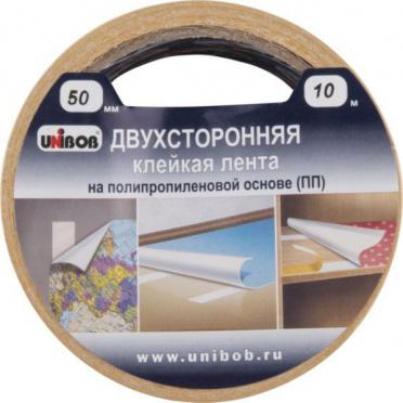 Двусторонняя клейкая лента UNIBOB 50мм*10м (полипропилен), арт. 28211/6/1
