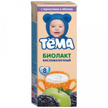 Биолакт Детский Тема чернослив яблоко 3,0% 206г пл/бут/6/БЗМЖ