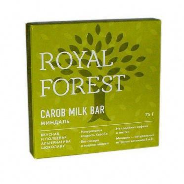 Плитка Royal Forest Carob milk bar миндаль 75г/16