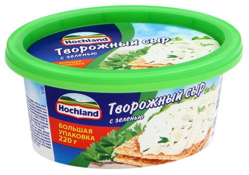 Сыр творожный Хохланд Зелень 60% 220г ванна/6/БЗМЖ
