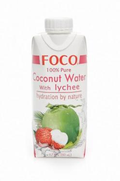 Кокосовая вода  Foco с соком личи натур б/сахара 330мл TetraPak/12