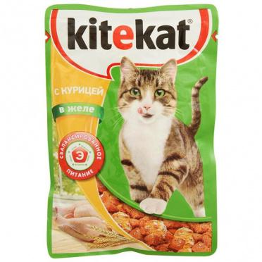 Корм для кошек Китекет курица в желе 85г пауч/28