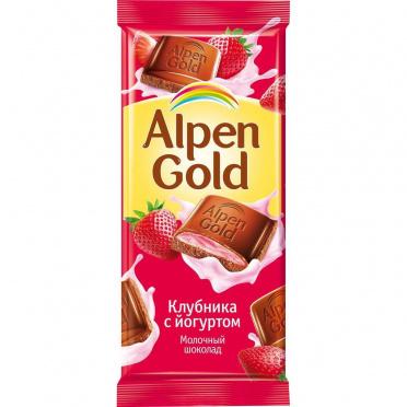 Шоколад Альпен голд клубника с йогуртом 80-90г/21