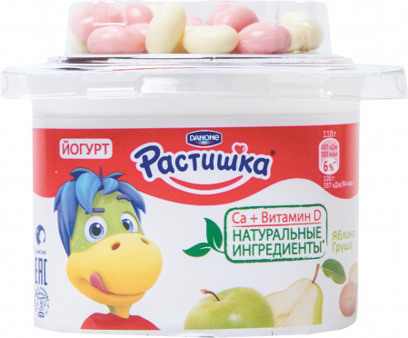 Йогурт Растишка 3% Яблоко груша + печенье 118г пл/ст/9/БЗМЖ