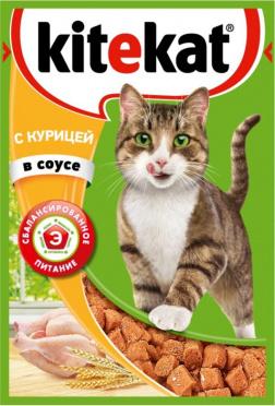 Корм для кошек Китекет курица в соусе 85г пауч/28