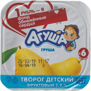 Творожок Агуша Груша 3,9% 100г пл/ст/6 ВБД/БЗМЖ