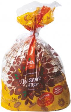 Хлеб Льняное чудо пш-рж. бездрожжевой с семенами льна 340г нарезка/ПК Лама