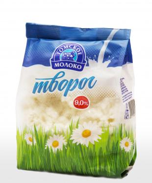 Творог Томское молоко 9% 500г пакет/10/БЗМЖ