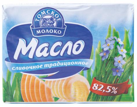 Масло сливочное Томское молоко 82,5% 180г фольга/40/БЗМЖ