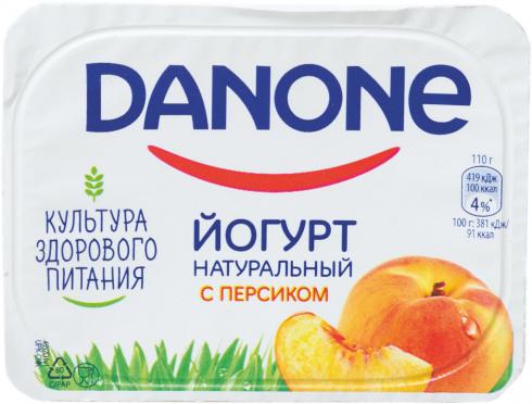 Йогурт Данон Персик 2,9% 110г пл/ст/12/БЗМЖ