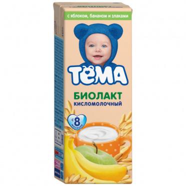Биолакт Детский Тема яблоко банан злаки 3,0% 206г пл/бут/6/БЗМЖ