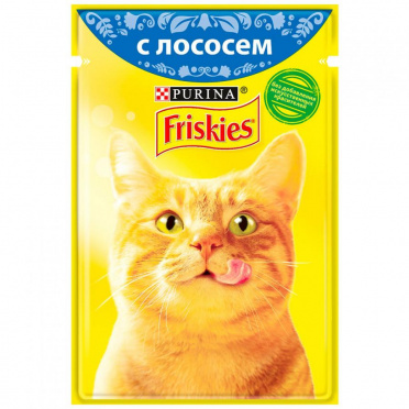 Корм для кошек ФРИСКИС влажн. лосось 85г пауч/24