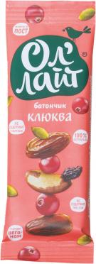 Батончик Ол'Лайт Клюква фруктово-ореховый 30г/25
