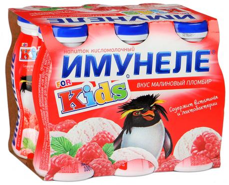 Напиток с соком Имунеле Кидс Малина-Пломбир 1,5% 100г пл/бут/6/ВБД