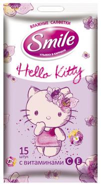 Салфетки влажные Smile Hello Kitty 15шт/96