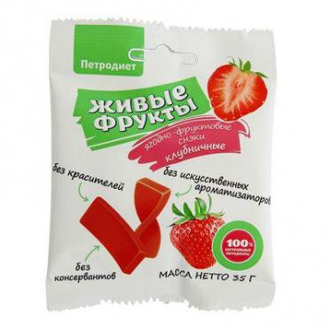 Снэки фруктово-ягодные Живые фрукты клубничные на фруктозе Петродиет 35г/20