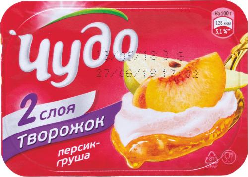 Творожок ЧУДО 100г Персик-Груша/12 ВБД/БЗМЖ