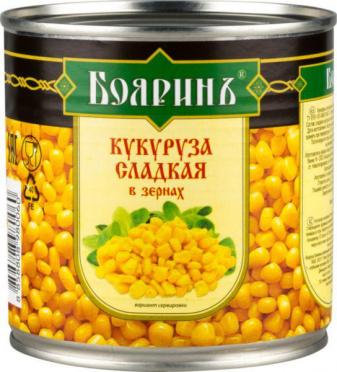 Кукуруза БОЯРИНЪ 425мл сладкая ж/б/12